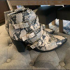 Snake Skin Leather Booties